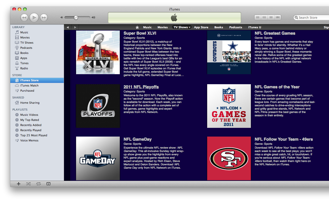NFL on iTunes