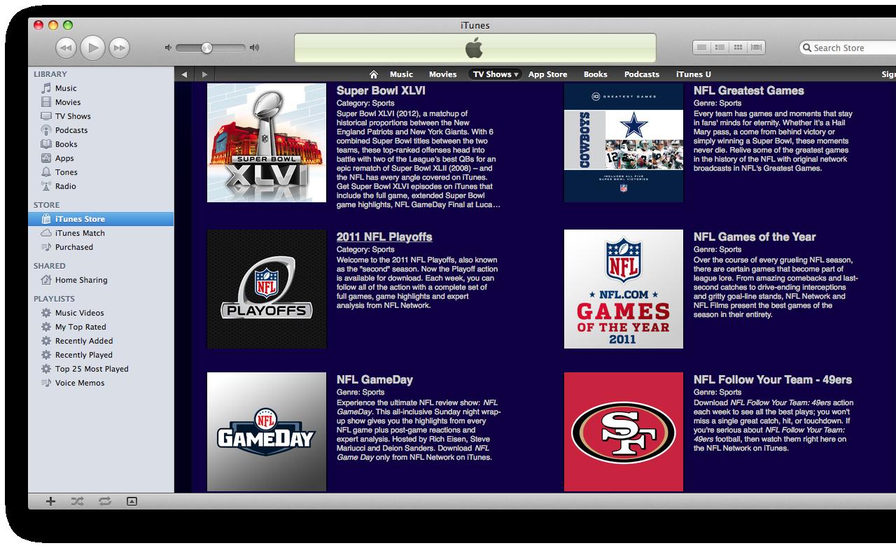 NFL on iTunes