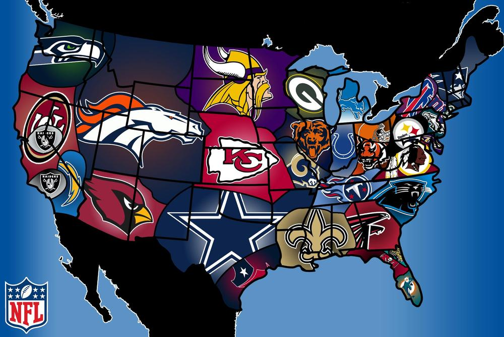 US map according to NFL fandom