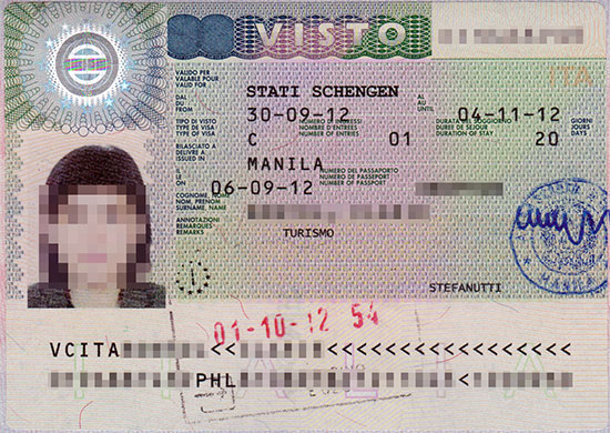 Schengen visa issued by the Embassy of Italy in Manila