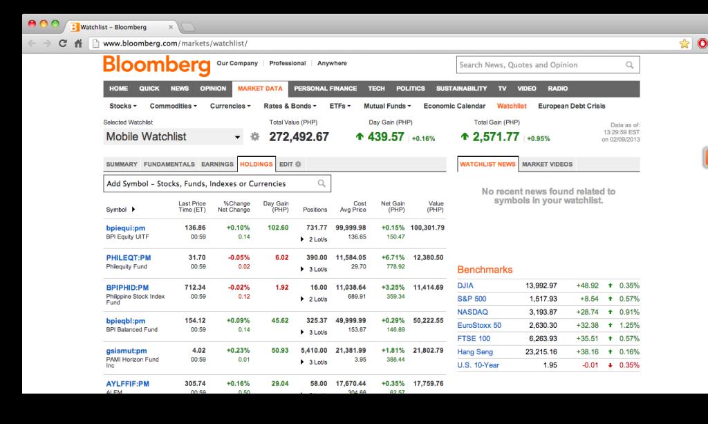 Bloomberg Watchlist (Potfolio Tracker)