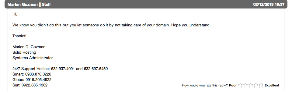 Poor customer service from Solid Hosting Philippines (SolidHosting.PH)
