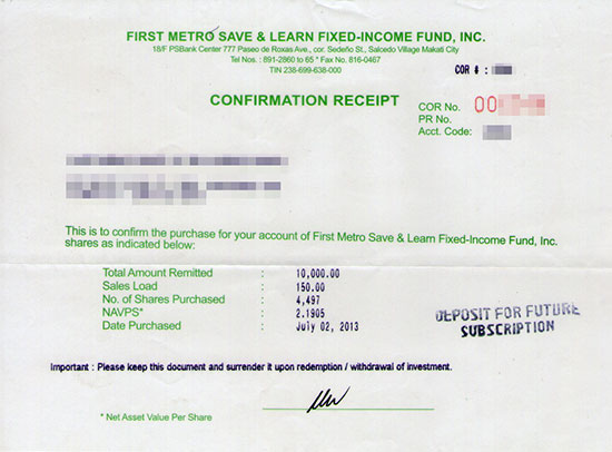 First Metro Save & Learn Fixed-Income Fund (SALFIF) confirmation receipt