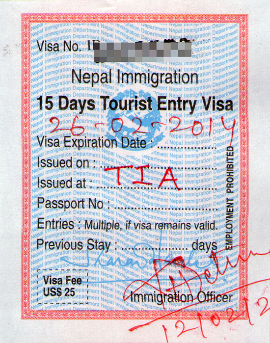 Nepalese visa issued by Nepal Immigration at Tribhuvan International Airport in Kathmandu