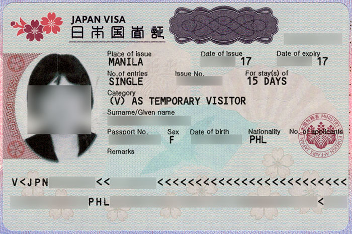 Japan visa issued by the Embassy of Japan in the Philippines