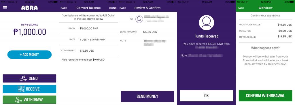 Abra money transfer app for iOS