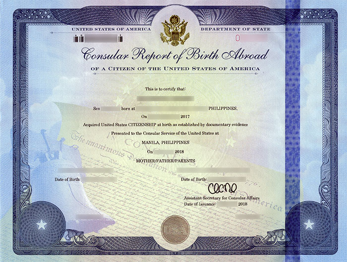 Consular Report of Birth Abroad of a Citizen of the United States of America (CRBA) or Form FS-240