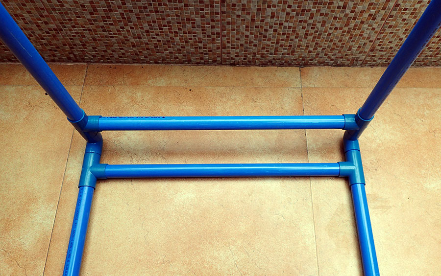 DIY playpen constructed using PVC pipes and fittings